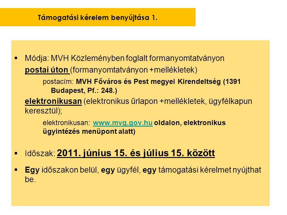  Módja: MVH Közleményben foglalt formanyomtatványon postai úton (formanyomtatványon +mellékletek) postacím: MVH Főváros és Pest megyei Kirendeltség (