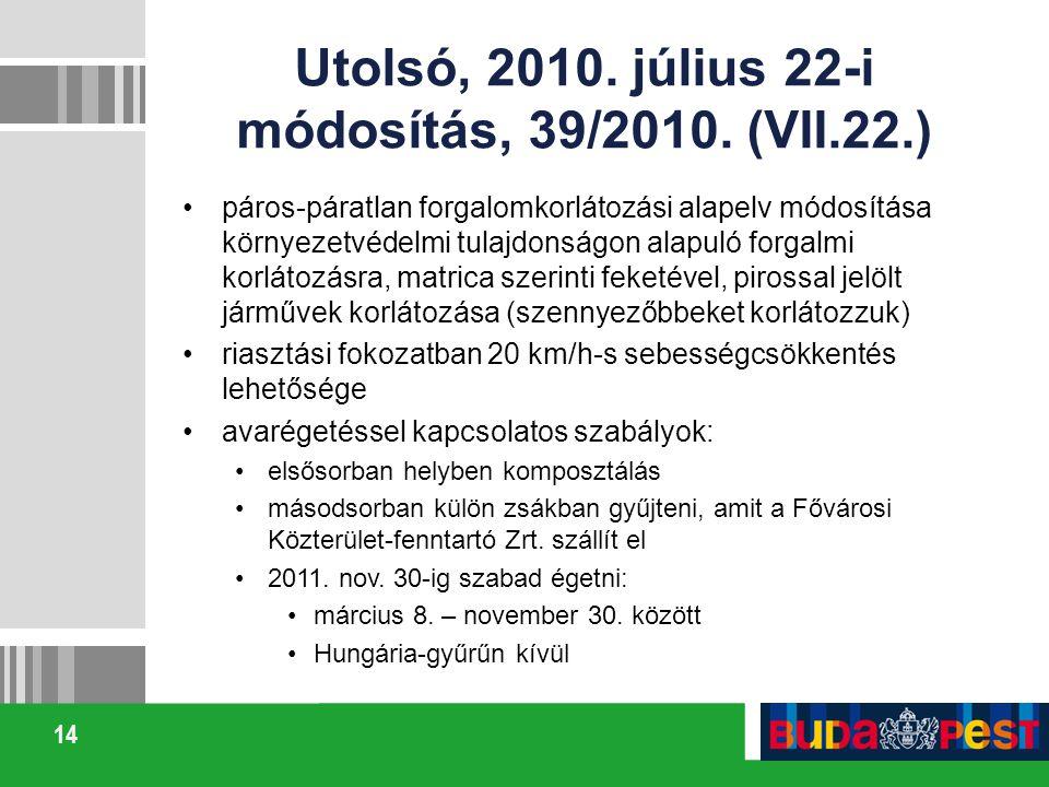 14 Utolsó, 2010. július 22-i módosítás, 39/2010. (VII.22.) páros-páratlan forgalomkorlátozási alapelv módosítása környezetvédelmi tulajdonságon alapul