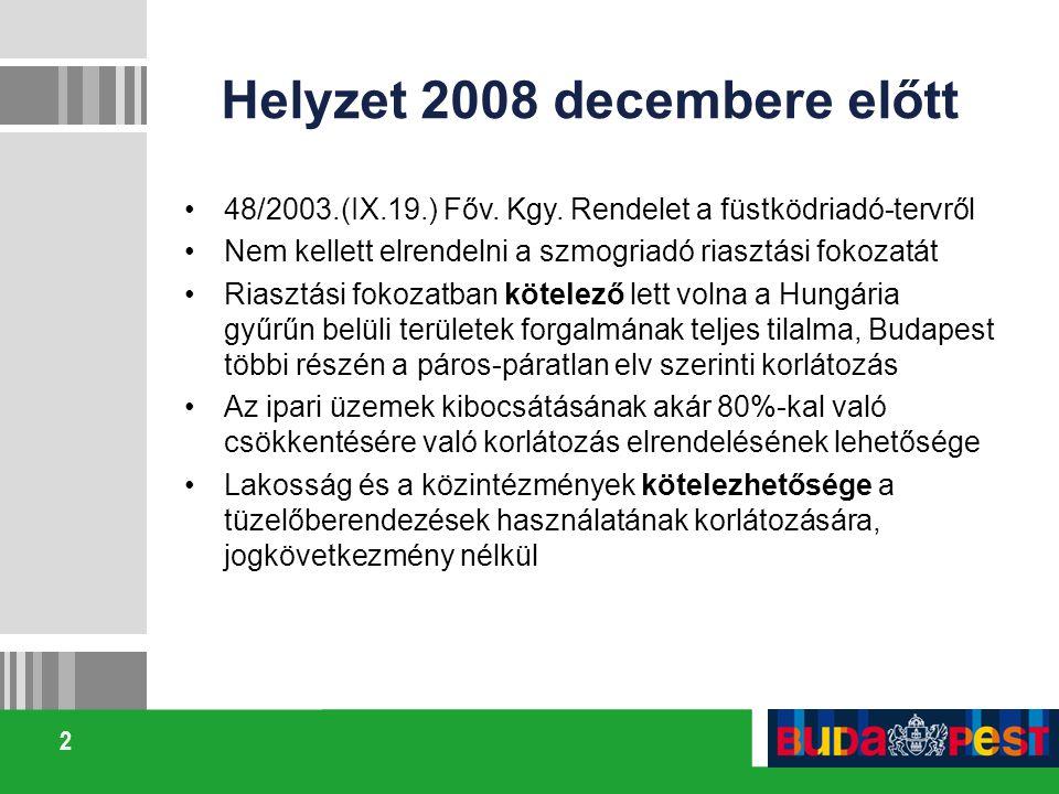 2 Helyzet 2008 decembere előtt 48/2003.(IX.19.) Főv. Kgy. Rendelet a füstködriadó-tervről Nem kellett elrendelni a szmogriadó riasztási fokozatát Rias