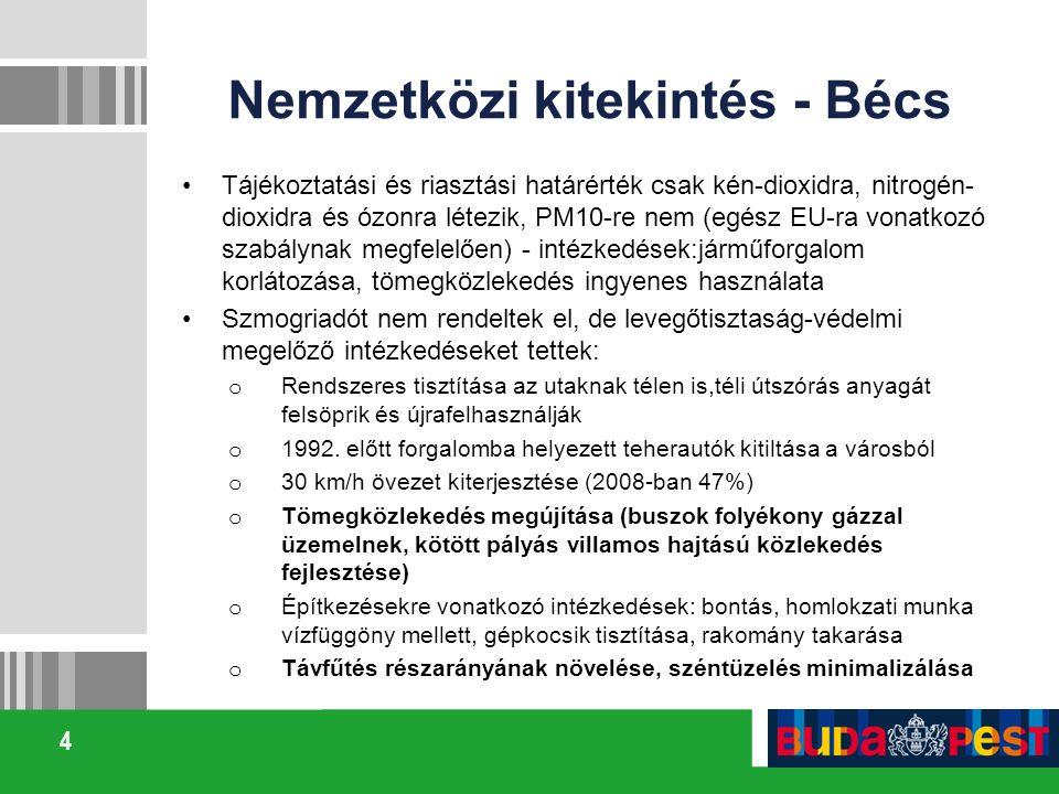 4 Nemzetközi kitekintés - Bécs Tájékoztatási és riasztási határérték csak kén-dioxidra, nitrogén- dioxidra és ózonra létezik, PM10-re nem (egész EU-ra vonatkozó szabálynak megfelelően) - intézkedések:járműforgalom korlátozása, tömegközlekedés ingyenes használata Szmogriadót nem rendeltek el, de levegőtisztaság-védelmi megelőző intézkedéseket tettek: o Rendszeres tisztítása az utaknak télen is,téli útszórás anyagát felsöprik és újrafelhasználják o 1992.