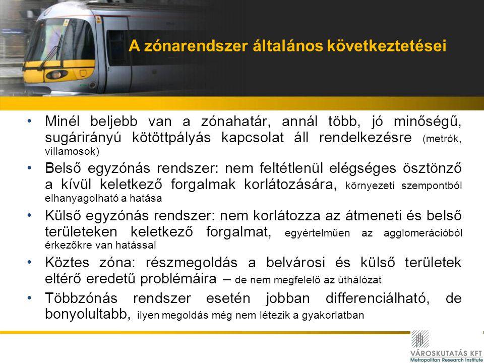 A zónarendszer általános következtetései Minél beljebb van a zónahatár, annál több, jó minőségű, sugárirányú kötöttpályás kapcsolat áll rendelkezésre