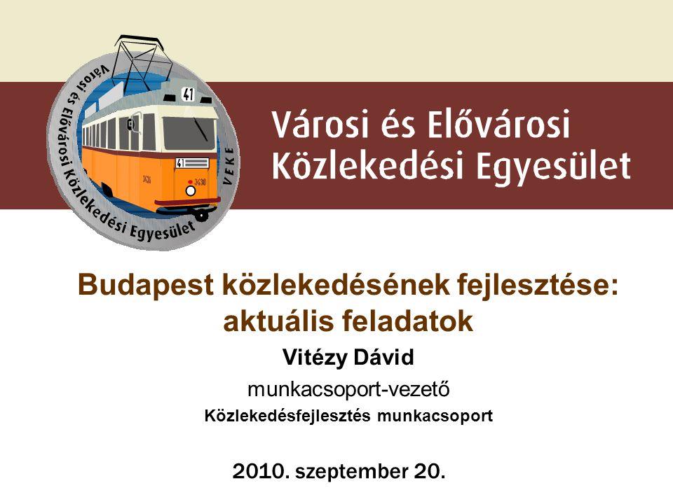 Budapest közlekedésének fejlesztése: aktuális feladatok Vitézy Dávid munkacsoport-vezető Közlekedésfejlesztés munkacsoport 2010.