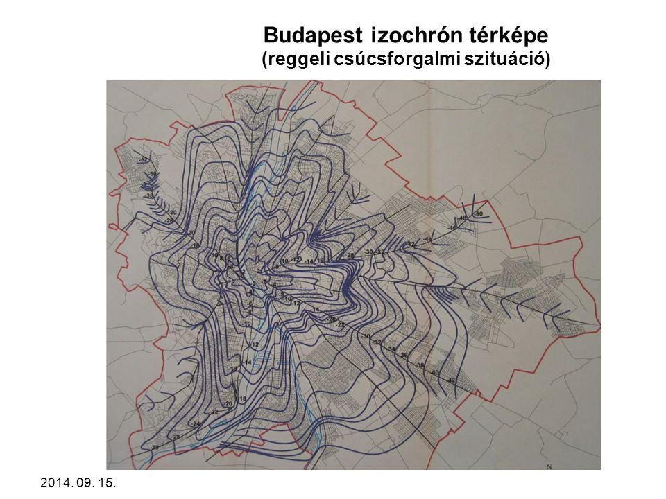 2014. 09. 15. Budapest izochrón térképe (reggeli csúcsforgalmi szituáció)