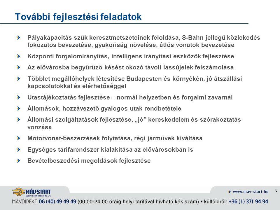 9 Megrendelői kapcsolatok Budapesten és az elővárosokban az agglomerációs vasúti fejlesztések, működtetés és finanszírozás kapcsán kompetens megrendelő létrehozása BKSZ működési szerződés 2011-től Bevételi kompenzáció igazítása a helyi utasforgalom növekedéséhez Környéki helyi ráhordások fejlesztése az önkormányzatokkal együttműködve