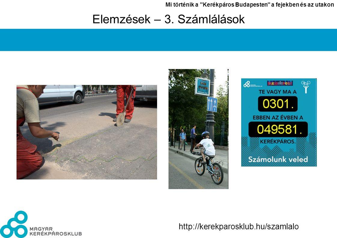 László János Mi történik a Kerékpáros Budapesten a fejekben és az utakon 4 http://kerekparosklub.hu/szamlalo Elemzések – 3.