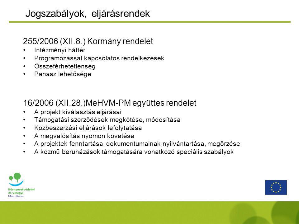Jogszabályok, eljárásrendek 255/2006 (XII.8.) Kormány rendelet Intézményi háttér Programozással kapcsolatos rendelkezések Összeférhetetlenség Panasz lehetősége 16/2006 (XII.28.)MeHVM-PM együttes rendelet A projekt kiválasztás eljárásai Támogatási szerződések megkötése, módosítása Közbeszerzési eljárások lefolytatása A megvalósítás nyomon követése A projektek fenntartása, dokumentumainak nyilvántartása, megőrzése A közmű beruházások támogatására vonatkozó speciális szabályok