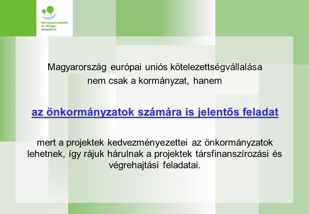 Magyarország európai uniós kötelezettségvállalása nem csak a kormányzat, hanem az önkormányzatok számára is jelentős feladat mert a projektek kedvezményezettei az önkormányzatok lehetnek, így rájuk hárulnak a projektek társfinanszírozási és végrehajtási feladatai.