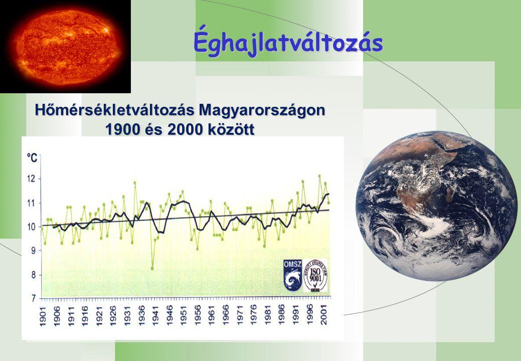 Éghajlatváltozás Hőmérsékletváltozás Magyarországon 1900 és 2000 között