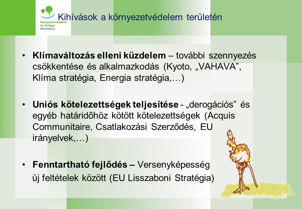 """Klímaváltozás elleni küzdelem – további szennyezés csökkentése és alkalmazkodás (Kyoto, """"VAHAVA , Klíma stratégia, Energia stratégia,…) Uniós kötelezettségek teljesítése - """"derogációs és egyéb határidőhöz kötött kötelezettségek (Acquis Communitaire, Csatlakozási Szerződés, EU irányelvek,…) Fenntartható fejlődés – Versenyképesség új feltételek között (EU Lisszaboni Stratégia) Kihívások a környezetvédelem területén"""