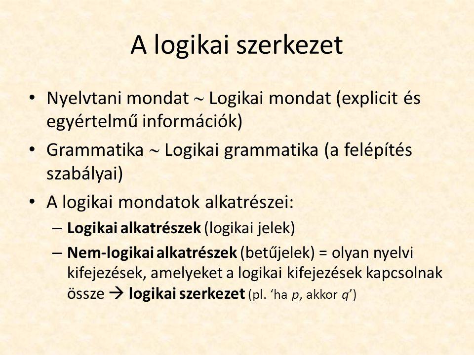 Logikai elemzés A logikai szerkezet nem a nyelvi kifejezések szembeötlő szerkezete A logikai szerkezetet a logikai elemzés bontja ki, illetve alkalmazza nyelvi kifejezésekre Mélysége az elemzés céljától függ Elvileg bármely lehetséges nyelvi kifejezés logikai szerkezete feltárható – A logika mesterséges nyelv, ezért le kell mondani a természetes nyelvek hajlékonyságáról – Minél mélyebben tárjuk fel a logikai struktúrát, az annál bonyolultabb, összetettebb, kezelhetetlenebb lesz