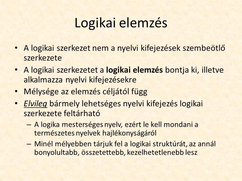 Nem-logikai alkatrészek Valamiről (alany) állítunk valamit (állítmány) Logikai mondatban: – alany  individuumnév (1.