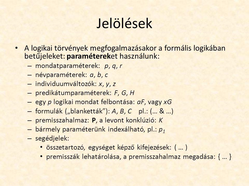 """Jelölések A logikai törvények megfogalmazásakor a formális logikában betűjeleket: paramétereket használunk: – mondatparaméterek: p, q, r – névparaméterek: a, b, c – individuumváltozók: x, y, z – predikátumparaméterek: F, G, H – egy p logikai mondat felbontása: aF, vagy xG – formulák (""""blanketták ): A, B, C pl.: (… & …) – premisszahalmaz: P, a levont konklúzió: K – bármely paraméterünk indexálható, pl.: p 1 – segédjelek: összetartozó, egységet képző kifejezések: ( … ) premisszák lehatárolása, a premisszahalmaz megadása: { … }"""