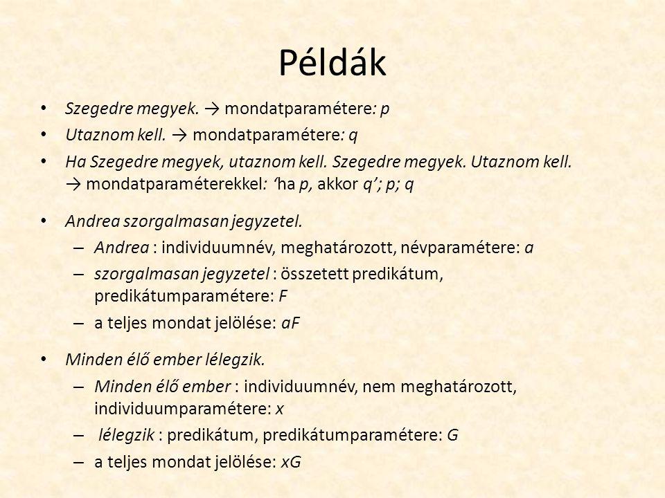 Példák Szegedre megyek.→ mondatparamétere: p Utaznom kell.