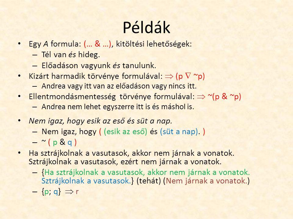 Példák Egy A formula: (… & …), kitöltési lehetőségek: – Tél van és hideg.