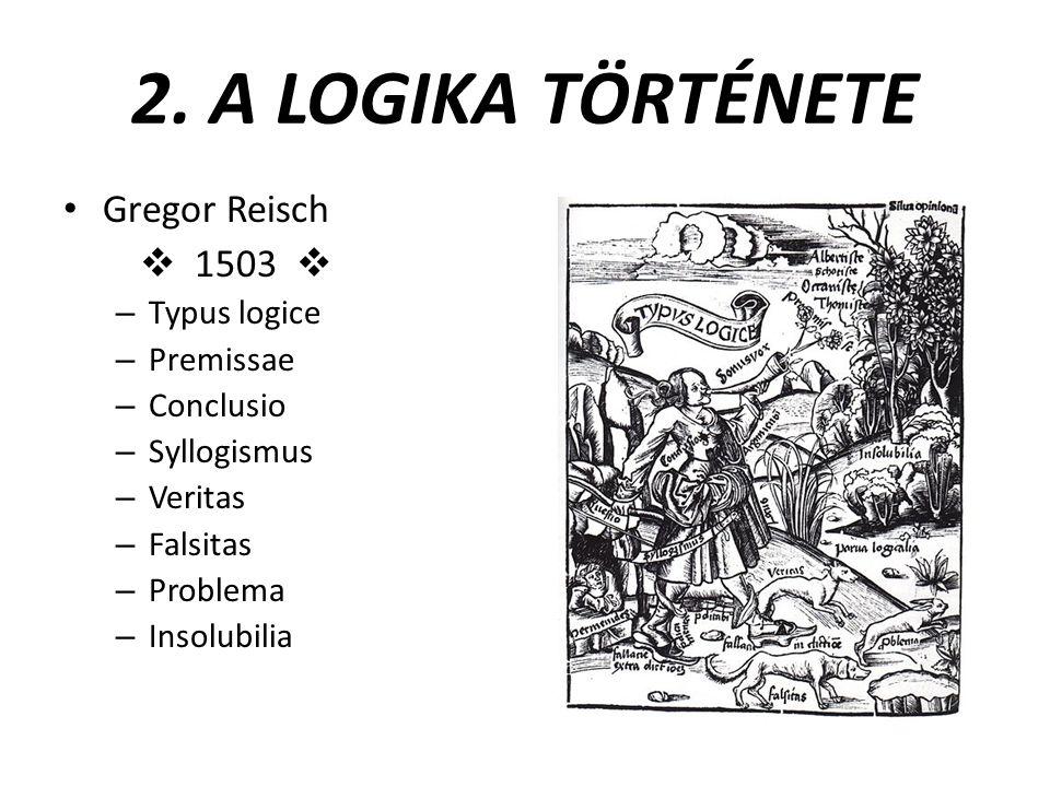 2. A LOGIKA TÖRTÉNETE Gregor Reisch  1503  – Typus logice – Premissae – Conclusio – Syllogismus – Veritas – Falsitas – Problema – Insolubilia