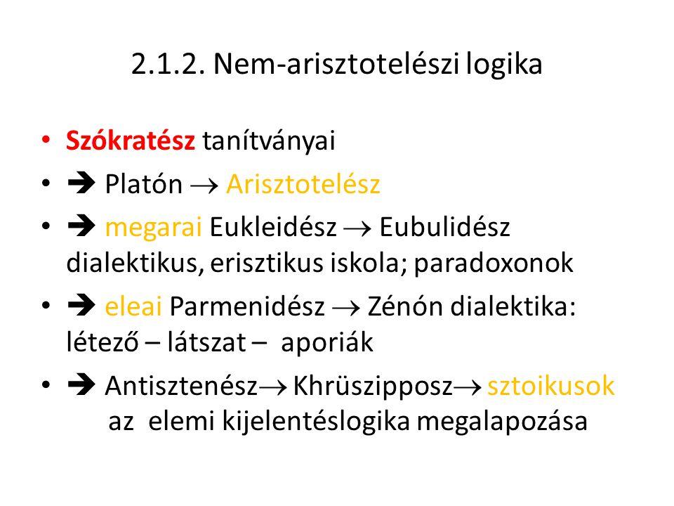 2.1.2. Nem-arisztotelészi logika Szókratész tanítványai  Platón  Arisztotelész  megarai Eukleidész  Eubulidész dialektikus, erisztikus iskola; par