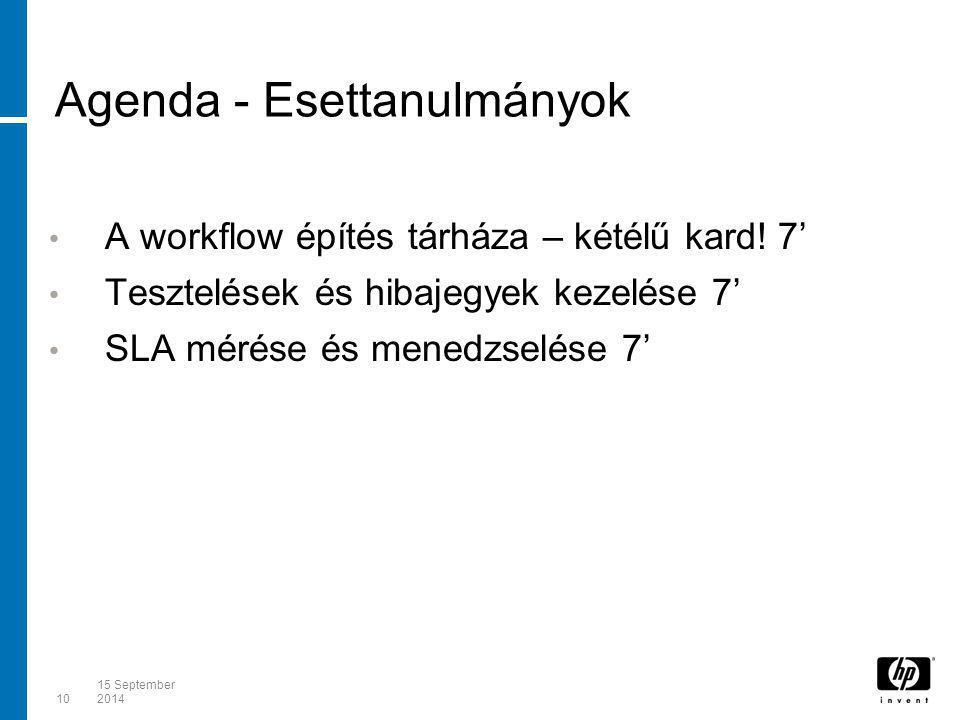 1015 September 2014 Agenda - Esettanulmányok A workflow építés tárháza – kétélű kard! 7' Tesztelések és hibajegyek kezelése 7' SLA mérése és menedzsel