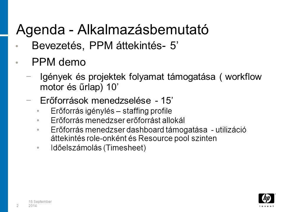 215 September 2014 Agenda - Alkalmazásbemutató Bevezetés, PPM áttekintés- 5' PPM demo −Igények és projektek folyamat támogatása ( workflow motor és űr