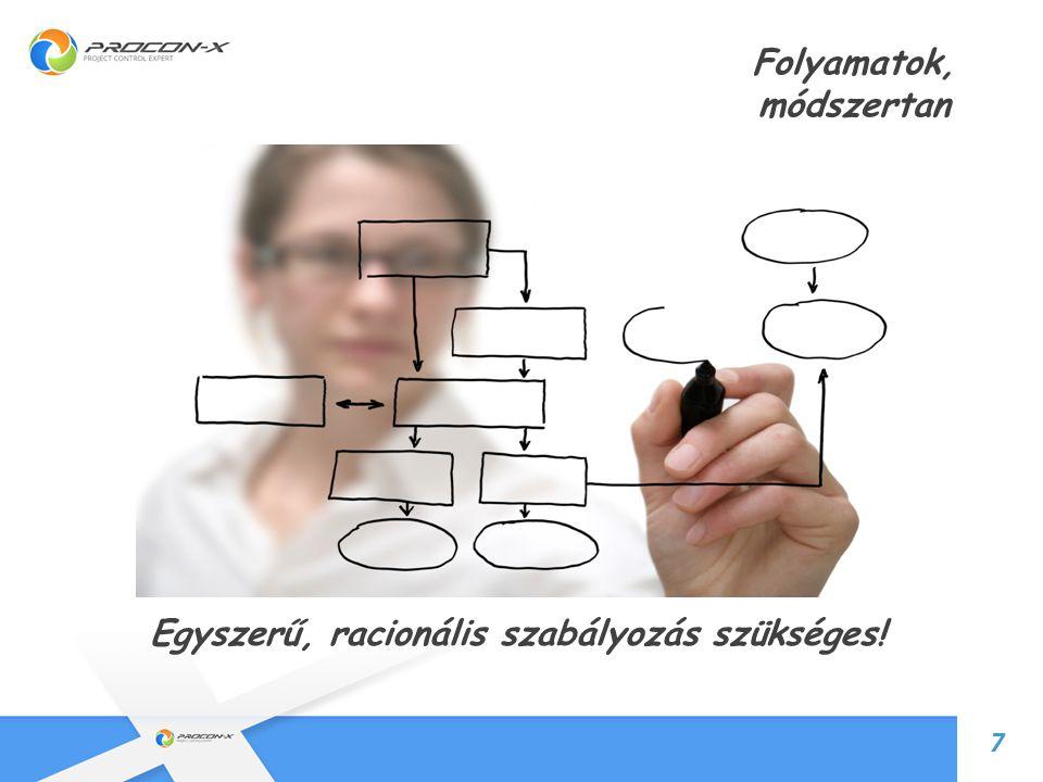 8 Folyamatok, módszertan 7 Egyszerű, racionális szabályozás szükséges!!