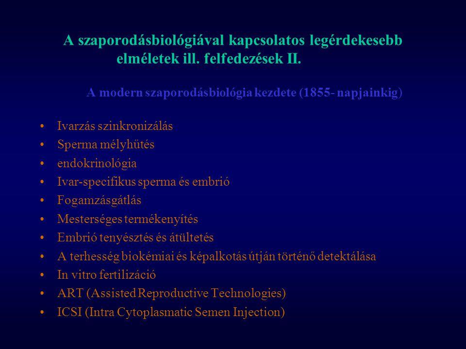 A szaporodásbiológiával kapcsolatos legérdekesebb elméletek ill. felfedezések II. A modern szaporodásbiológia kezdete (1855- napjainkig) Ivarzás szink