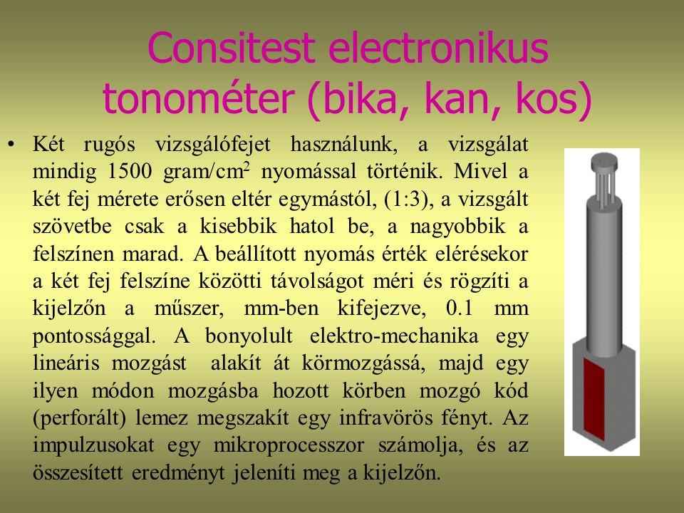 Consitest electronikus tonométer (bika, kan, kos) Két rugós vizsgálófejet használunk, a vizsgálat mindig 1500 gram/cm 2 nyomással történik. Mivel a ké