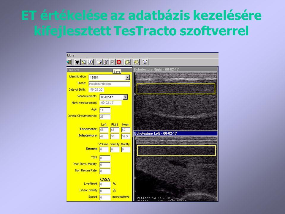 ET értékelése az adatbázis kezelésére kifejlesztett TesTracto szoftverrel