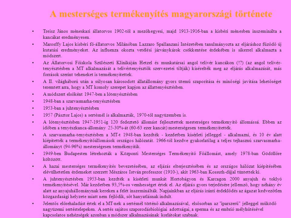 A mesterséges termékenyítés magyarországi története Treisz János méneskari állatorvos 1902-től a mezőhegyesi, majd 1913-1916-ban a kisbéri ménesben in