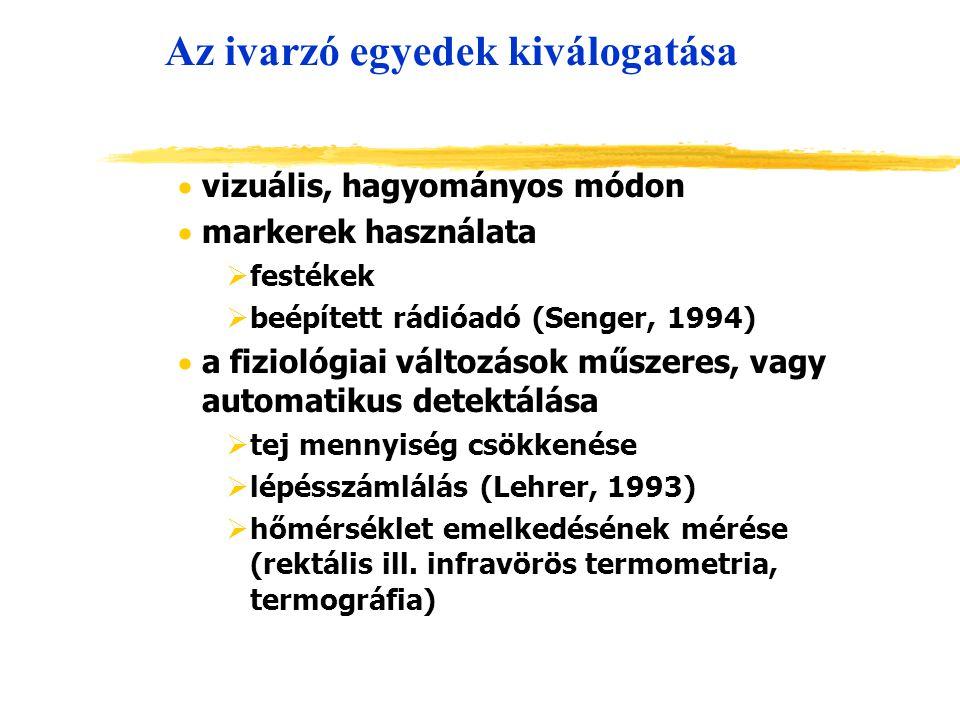 Az ivarzó egyedek kiválogatása  vizuális, hagyományos módon  markerek használata  festékek  beépített rádióadó (Senger, 1994)  a fiziológiai vált