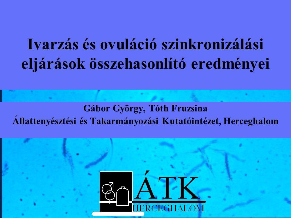 Ivarzás és ovuláció szinkronizálási eljárások összehasonlító eredményei Gábor György, Tóth Fruzsina Állattenyésztési és Takarmányozási Kutatóintézet,