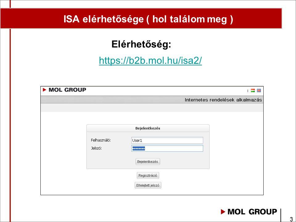 3 Elérhetőség: ISA elérhetősége ( hol találom meg ) https://b2b.mol.hu/isa2/