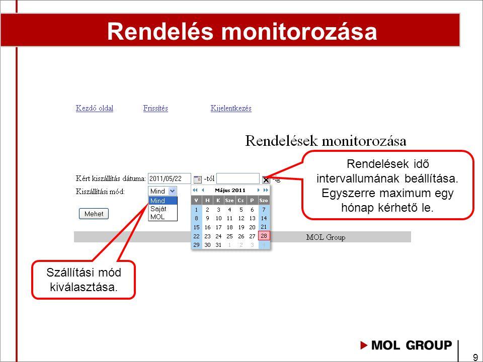 10 Monitorozás új állapotok 1. Jel és szín magyarázat Rendelés rögzítve, még nincs engedélyezve.