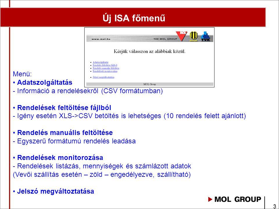 14 Adatszolgáltatás Adat szolgáltatás - Rendelés letöltés riport formátuma
