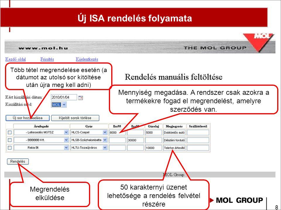 9 Új ISA rendelés folyamata Megrendelés törlése soronként Törlendő sor kijelölése