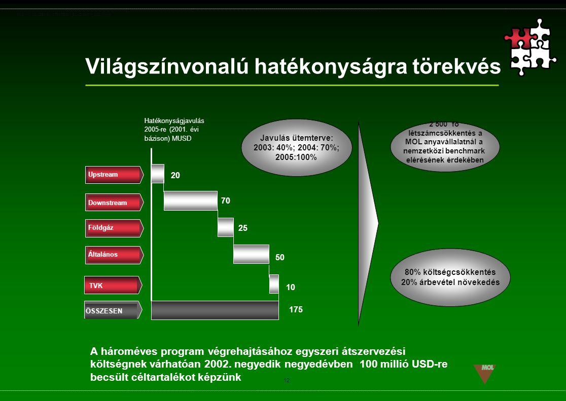 PSG\NOV02\CEEMEA\STRATEGIA_ROADSHOW_SLD(11).ppt 12 Világszínvonalú hatékonyságra törekvés Javulás ütemterve: 2003: 40%; 2004: 70%; 2005:100% Upstream