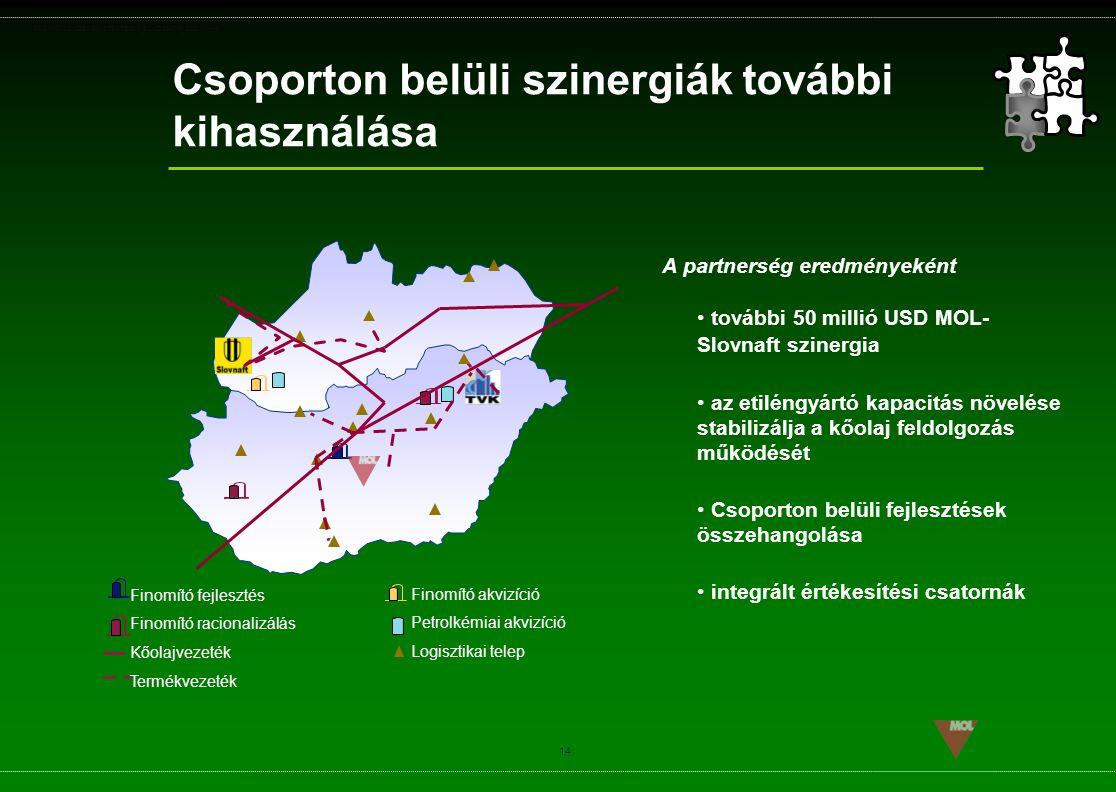 PSG\NOV02\CEEMEA\STRATEGIA_ROADSHOW_SLD(11).ppt 14 Csoporton belüli szinergiák további kihasználása Finomító fejlesztés Finomító racionalizálás Kőolaj
