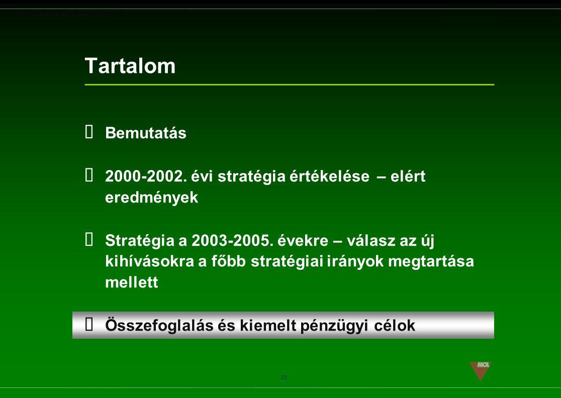 PSG\NOV02\CEEMEA\STRATEGIA_ROADSHOW_SLD(11).ppt 23 Tartalom  Bemutatás  2000-2002. évi stratégia értékelése – elért eredmények  Stratégia a 2003-20