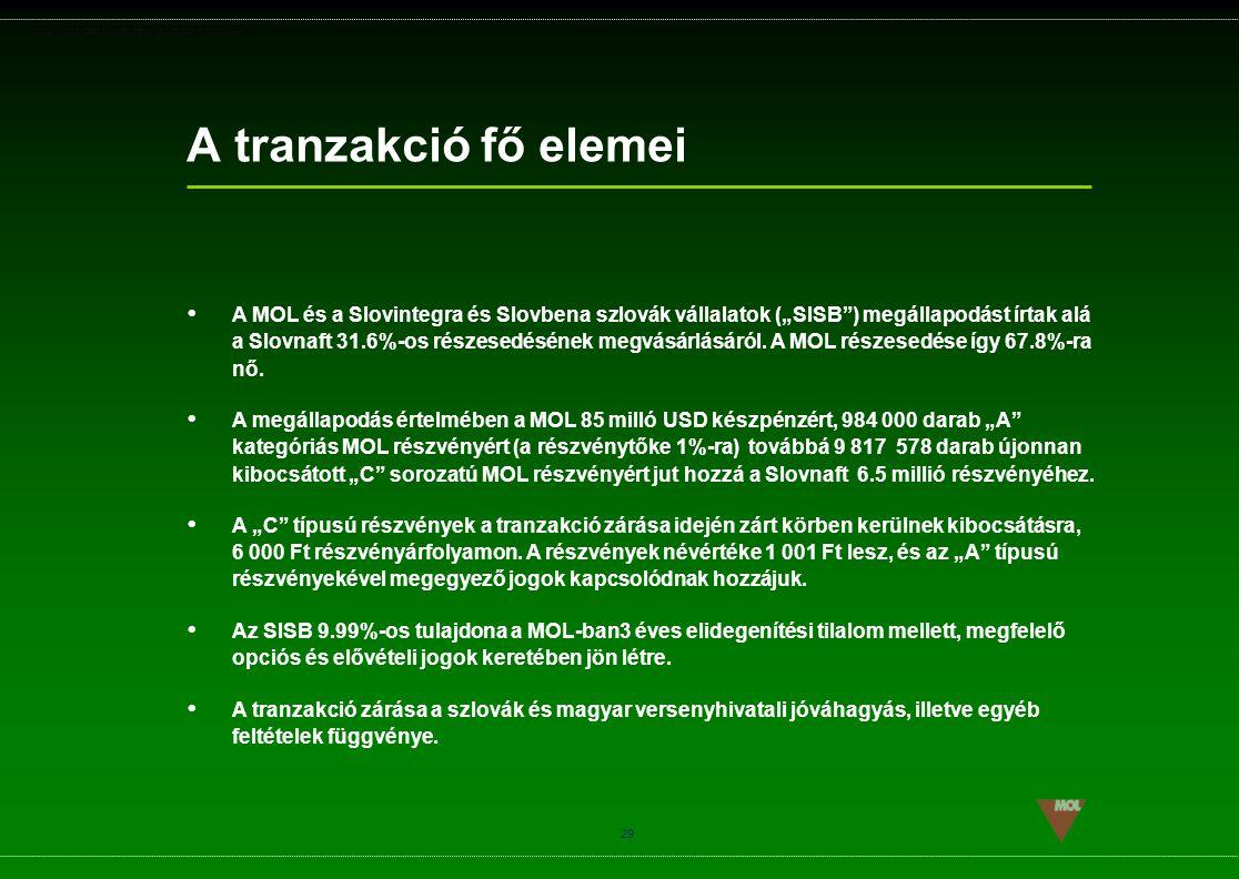 """PSG\NOV02\CEEMEA\STRATEGIA_ROADSHOW_SLD(11).ppt 29 A tranzakció fő elemei  A MOL és a Slovintegra és Slovbena szlovák vállalatok (""""SISB"""") megállapodá"""