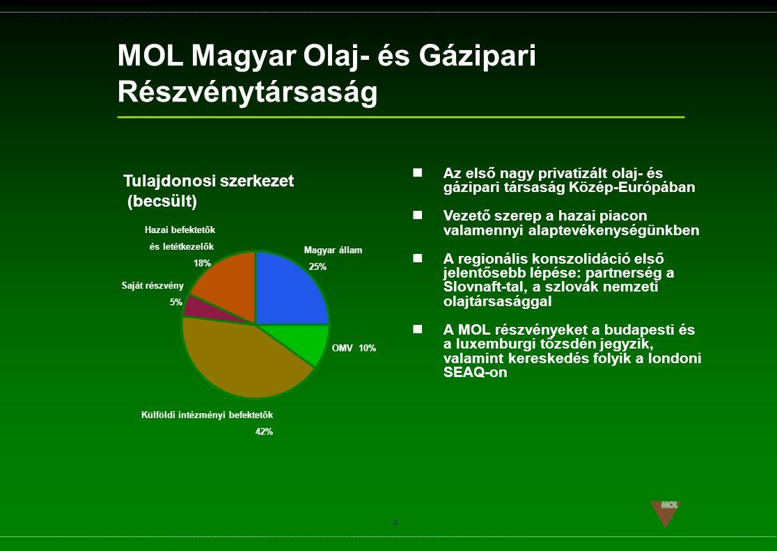 PSG\NOV02\CEEMEA\STRATEGIA_ROADSHOW_SLD(11).ppt 5 Az első nagy privatizált olaj- és gázipari társaság Közép-Európában Vezető szerep a hazai piacon val