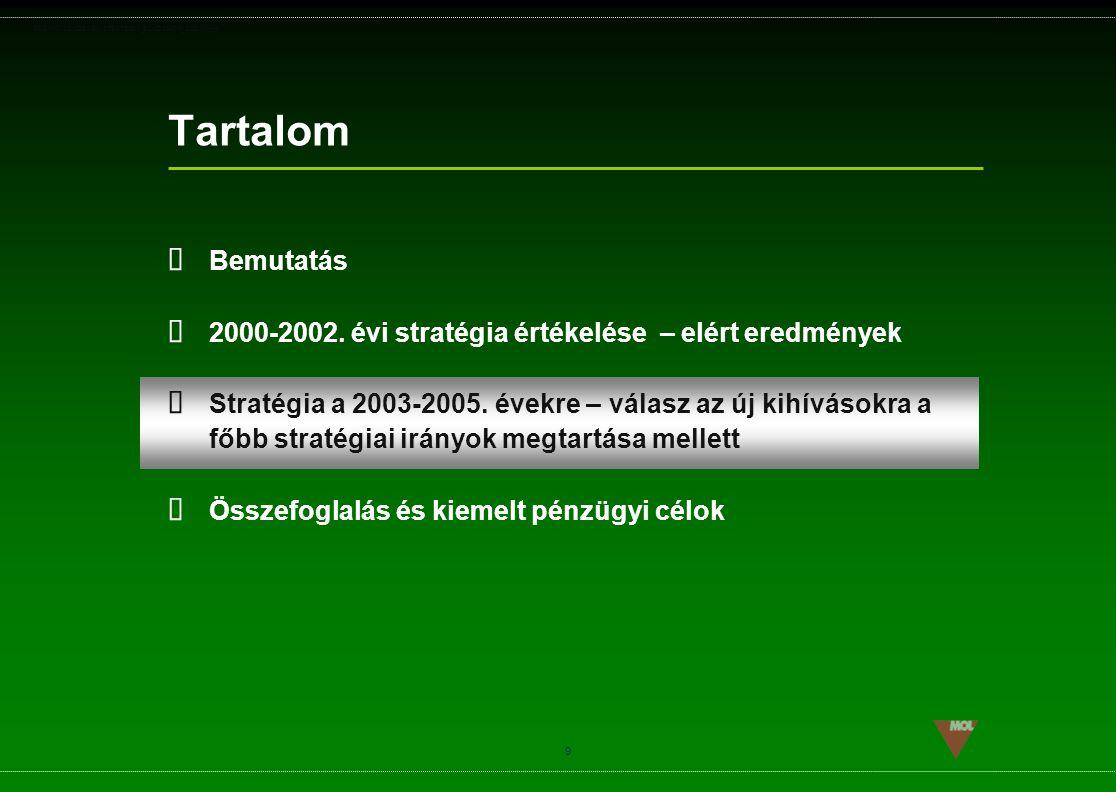 PSG\NOV02\CEEMEA\STRATEGIA_ROADSHOW_SLD(11).ppt 9 Tartalom  Bemutatás  2000-2002. évi stratégia értékelése – elért eredmények  Stratégia a 2003-200