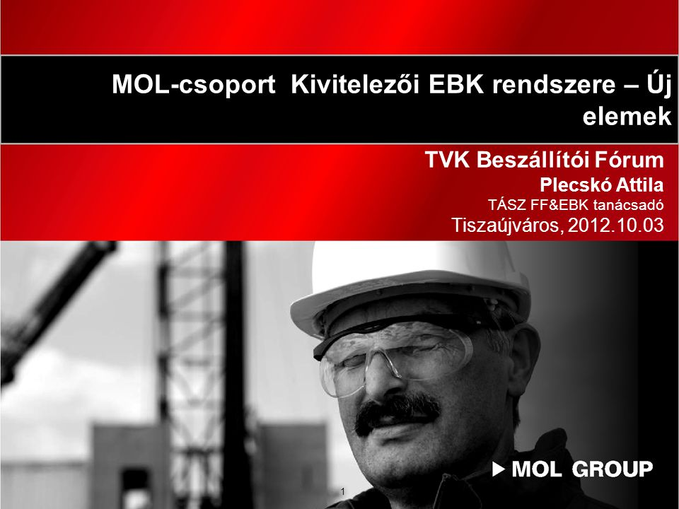 1 TVK Beszállítói Fórum Plecskó Attila TÁSZ FF&EBK tanácsadó Tiszaújváros, 2012.10.03 MOL-csoport Kivitelezői EBK rendszere – Új elemek