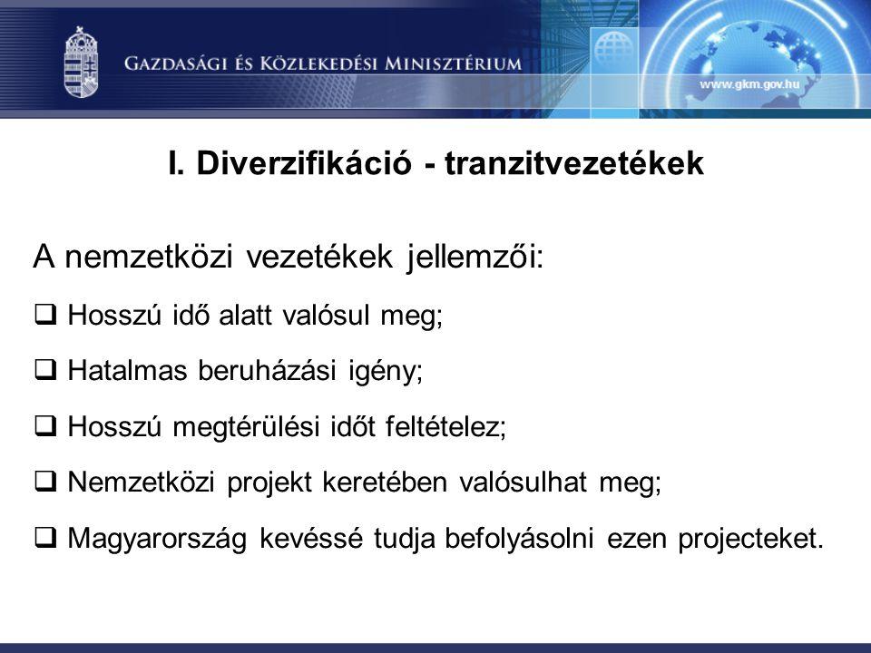I. Diverzifikáció - tranzitvezetékek A nemzetközi vezetékek jellemzői:  Hosszú idő alatt valósul meg;  Hatalmas beruházási igény;  Hosszú megtérülé
