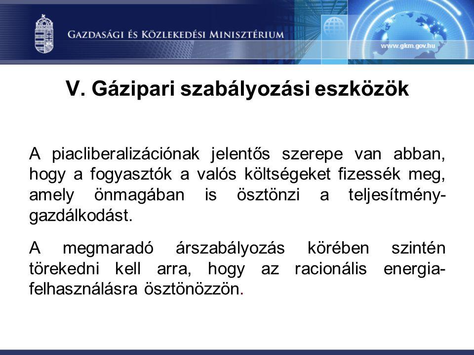 V. Gázipari szabályozási eszközök A piacliberalizációnak jelentős szerepe van abban, hogy a fogyasztók a valós költségeket fizessék meg, amely önmagáb
