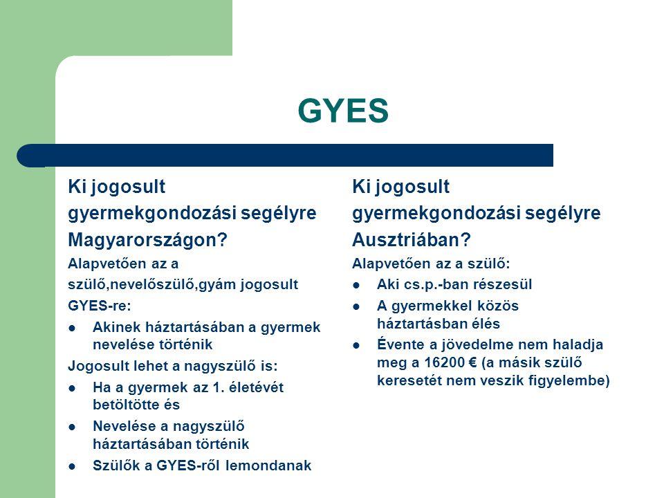 GYES Ki jogosult gyermekgondozási segélyre Magyarországon? Alapvetően az a szülő,nevelőszülő,gyám jogosult GYES-re: Akinek háztartásában a gyermek nev
