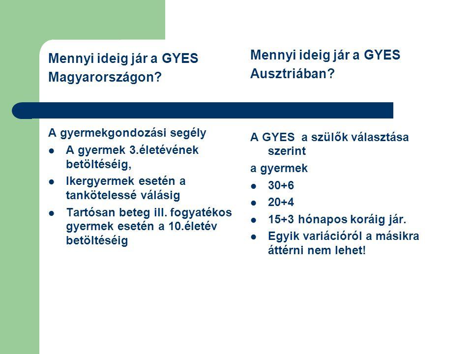 Mennyi ideig jár a GYES Magyarországon? A gyermekgondozási segély A gyermek 3.életévének betöltéséig, Ikergyermek esetén a tankötelessé válásig Tartós