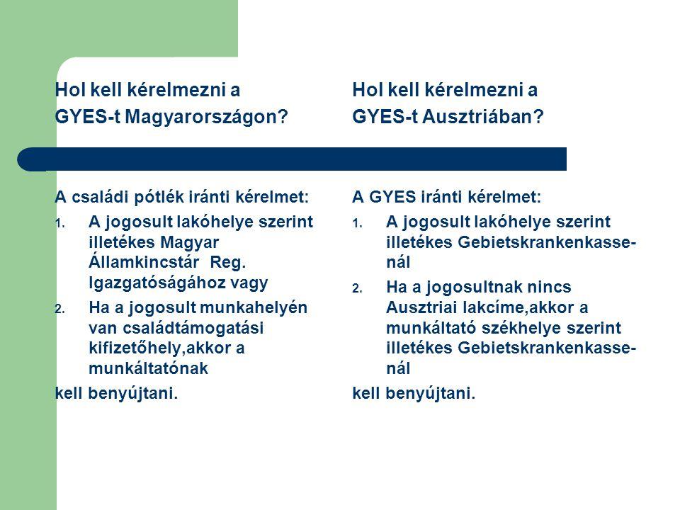 Hol kell kérelmezni a GYES-t Magyarországon? A családi pótlék iránti kérelmet: 1. A jogosult lakóhelye szerint illetékes Magyar Államkincstár Reg. Iga