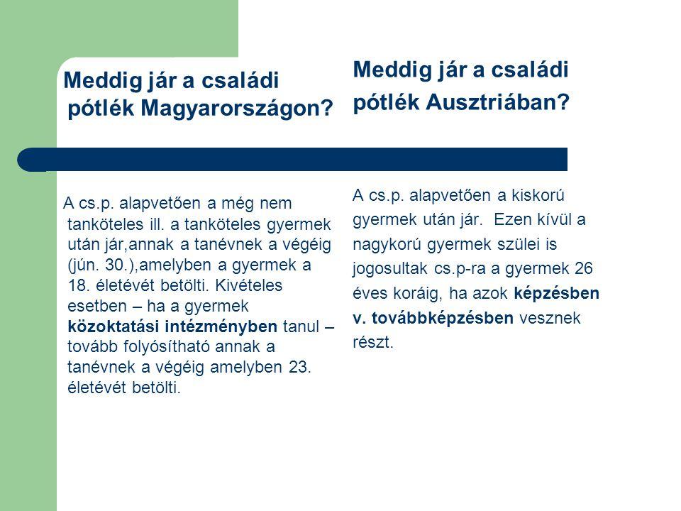 Meddig jár a családi pótlék Magyarországon? A cs.p. alapvetően a még nem tanköteles ill. a tanköteles gyermek után jár,annak a tanévnek a végéig (jún.