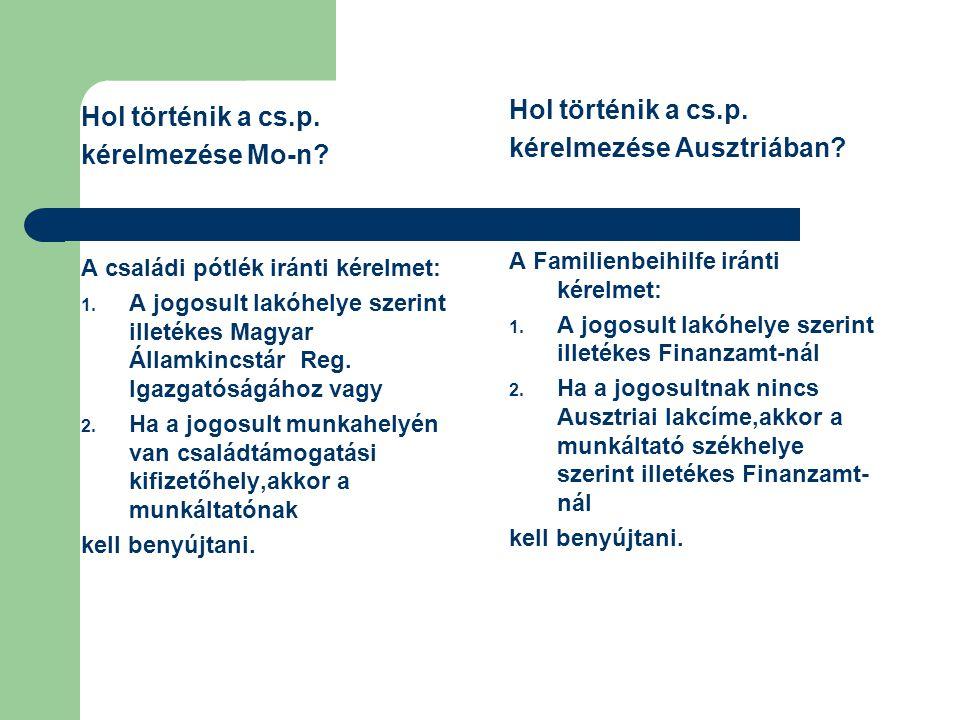 Ha viszont az egyik szülő Ausztriában dolgozik,a másik pedig Magyarországon nem folytat kereső tevékenységet (háztartásbeli vagy szintén Ausztriában dolgozik) és a gyerek Magyarországon lakik, akkor az az állam köteles az ellátást folyósítani,ahol a szülő/szülők dolgoznak.