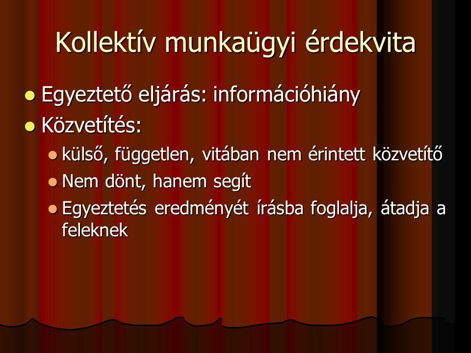 Kollektív munkaügyi érdekvita Egyeztető eljárás: információhiány Egyeztető eljárás: információhiány Közvetítés: Közvetítés: külső, független, vitában nem érintett közvetítő külső, független, vitában nem érintett közvetítő Nem dönt, hanem segít Nem dönt, hanem segít Egyeztetés eredményét írásba foglalja, átadja a feleknek Egyeztetés eredményét írásba foglalja, átadja a feleknek