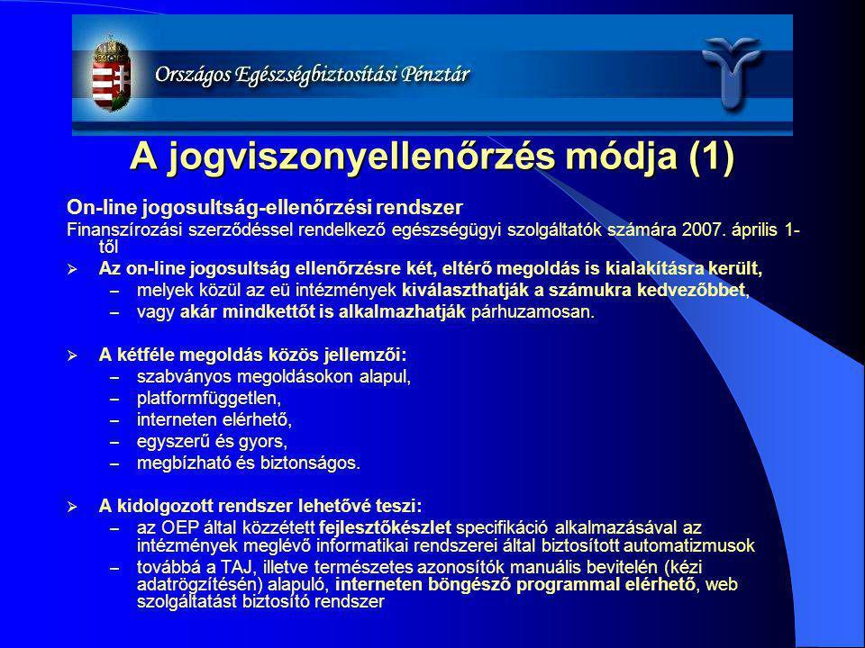 A jogviszonyellenőrzés módja (1) On-line jogosultság-ellenőrzési rendszer Finanszírozási szerződéssel rendelkező egészségügyi szolgáltatók számára 200