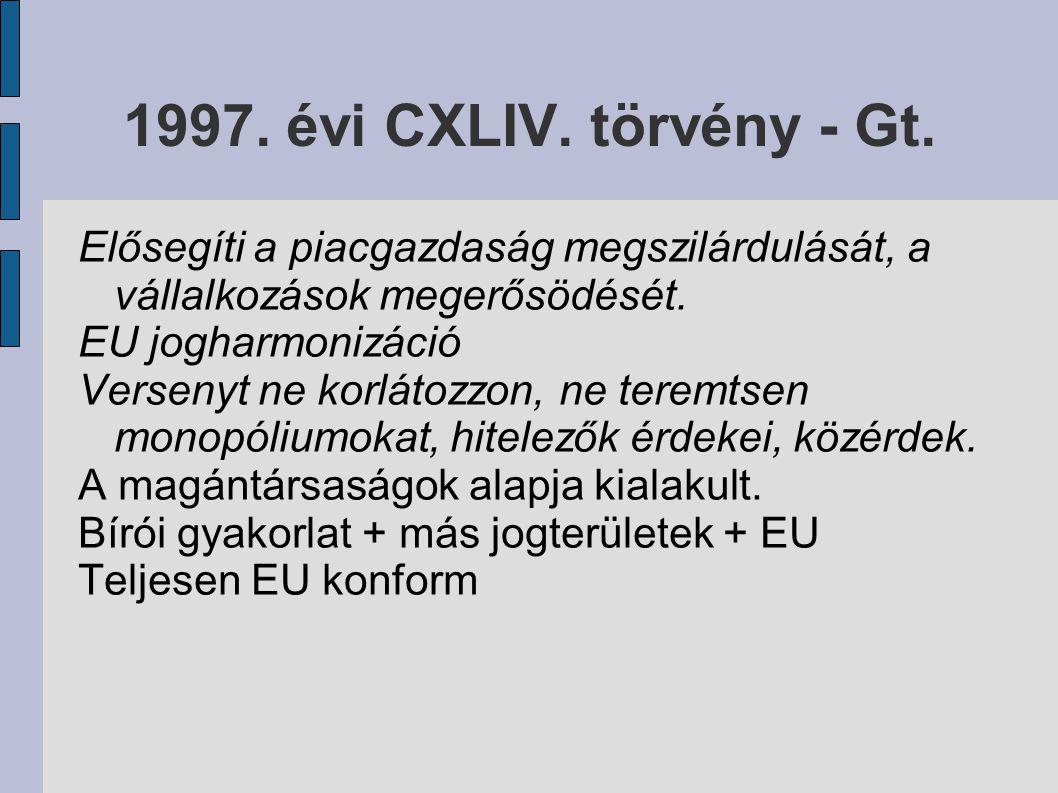 2006.évi IV. törvény – Új Gt. 2005. december Két és fél éves előkészítés Hatályba lépés: 2006.